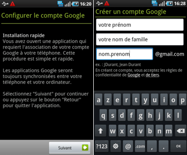 créer adresse gmail android
