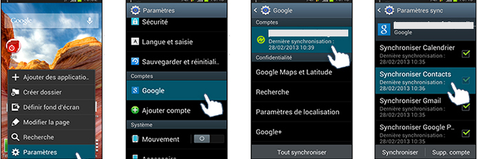 synchroniser contacts gmail android