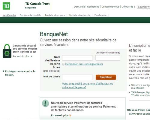 accès compte banque net td