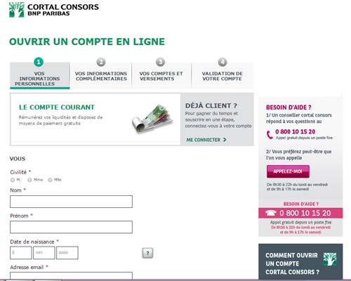 creation compte cortal consors