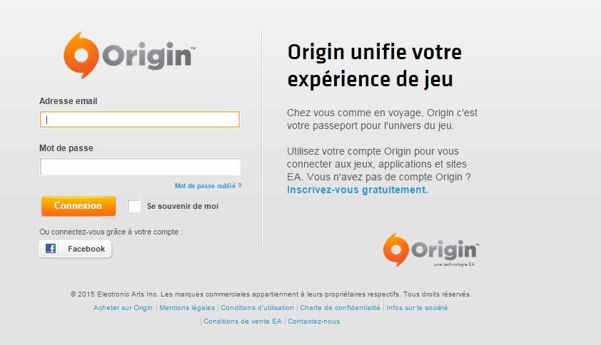 inscrire un compte origin