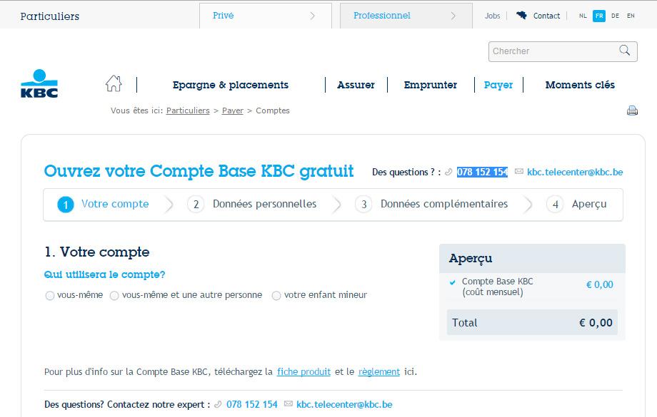 créer compte kbc bank