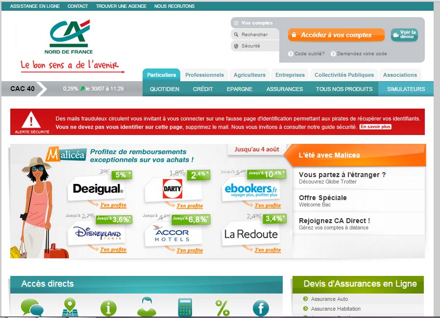 accès compte crédit agricole du nord France