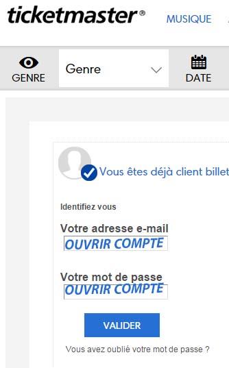 connexion compte Ticketnet