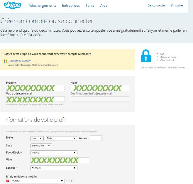 créer compte skype