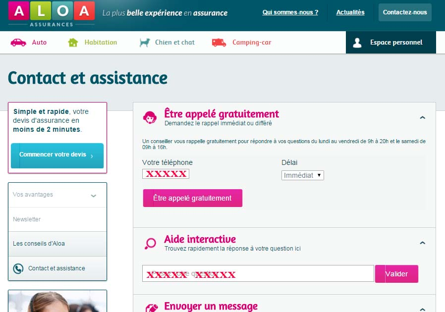 contacter aloa assurance