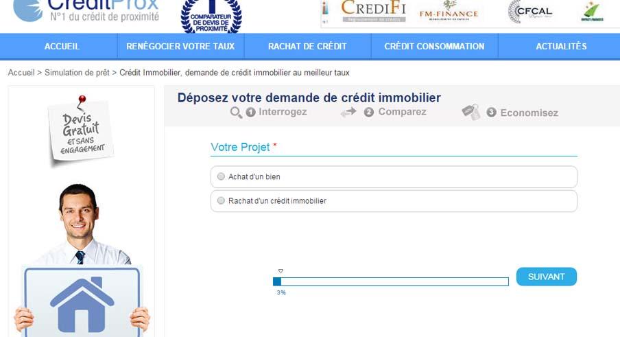 demande de crédit sur Creditprox