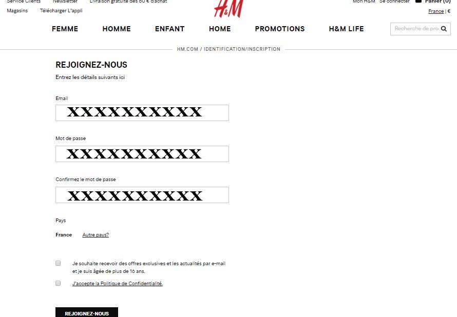créer compte H&M en ligne