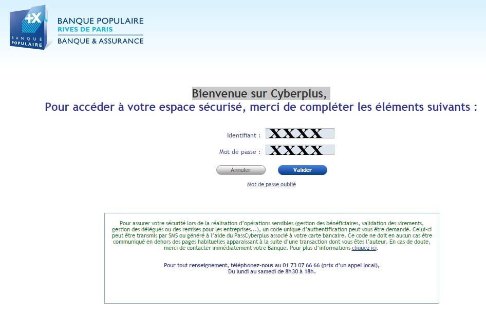 banque populaire rives de paris cyberplus