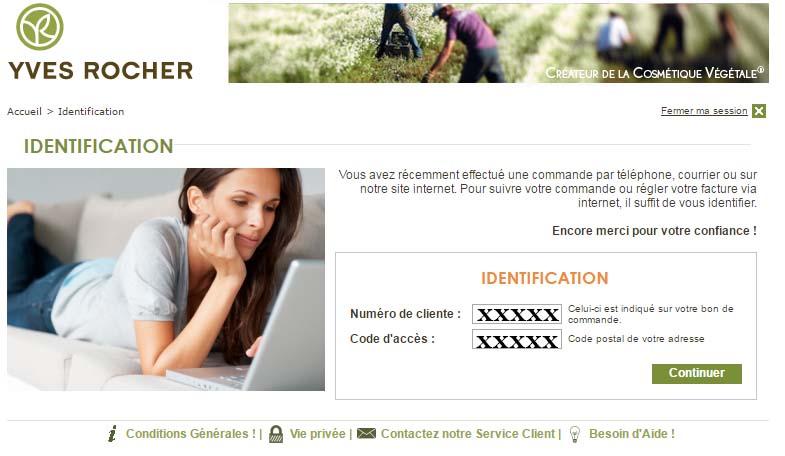 Yves Rocher suivi commande en ligne