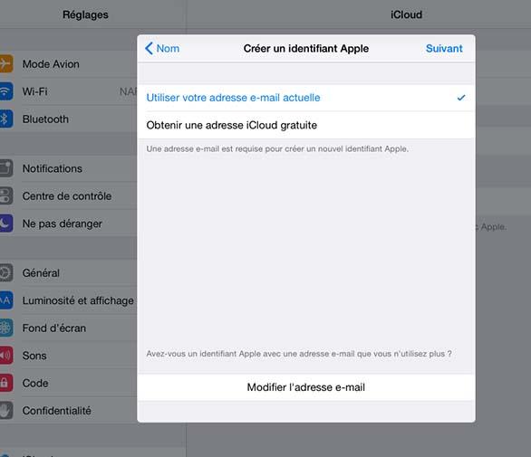 créer un compte icloud