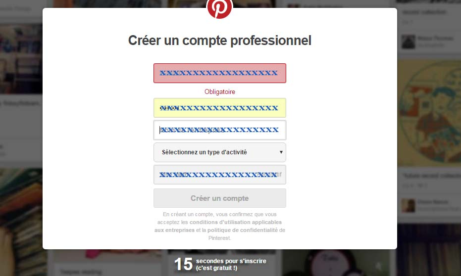 Créer compte Pinterest pro
