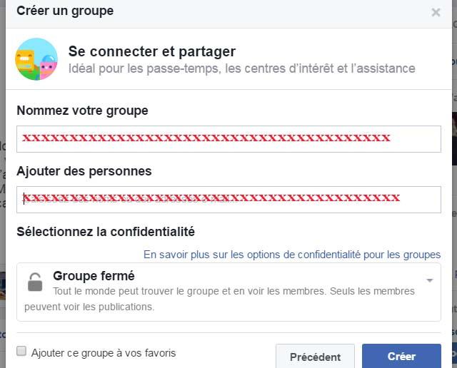 création groupe facebook