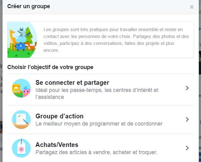 créer groupe facebook