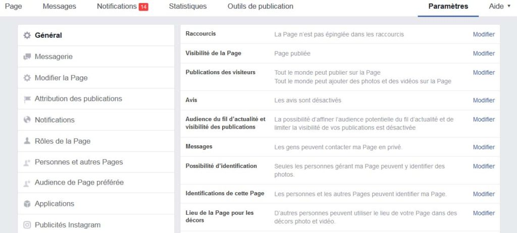page fan facebook créé