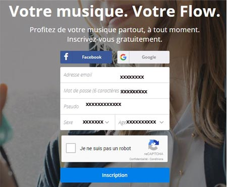 Page d'inscription Deezer