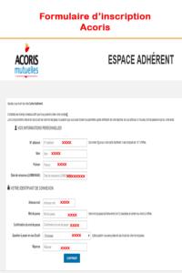 Formulaire d'inscription Acoris