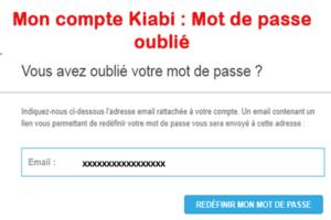 Problème de connexion kiabi : mot de passe oublié