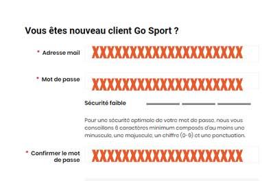 créer un compte Go Sport