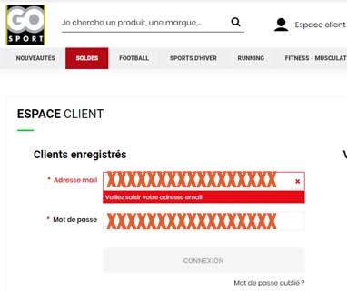 Connexion espace client Go Sport Feelgood