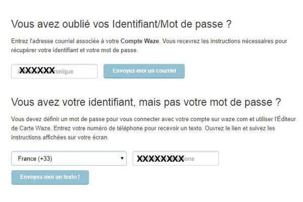 Mot de passe compte Waze