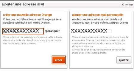 Nouvelle adresse mail orange