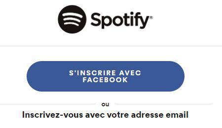 Spotify impossible de créer un compte