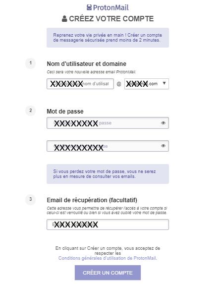 Créer un compte protonmail