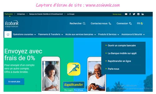 Ouvrir un compte sur ecobank.com