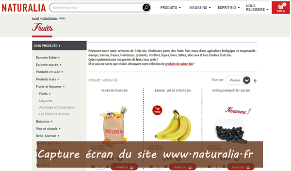 Naturalia en ligne : commandes et livraison à domicile
