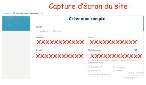 Comment creer compte drive Carrefour